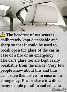 Help save a life. Car headrest in an emergency. Survival Life Hacks, Survival Prepping, Emergency Preparedness, Survival Skills, Simple Life Hacks, Useful Life Hacks, 1000 Life Hacks, Understanding Anxiety, The More You Know