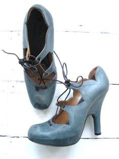 Vivienne Westwood hidden PLATFORM leather pirate courtesan ballet shoe boots stiletto heels courts pumps vintage 37 - my size!!!