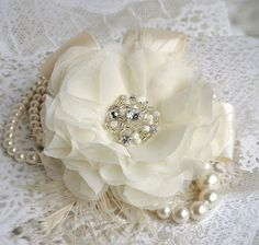 Wedding Hair Flower, Bridal Hair Accessory Handmade Silk Chiffon Flower, Feathers, Tulle, Satin Ribbon, Pearls and Crystals, White, Ivory