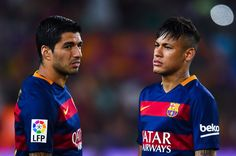 Luis Suarez (L) and Neymar of FC Barcelona look on during the Joan Gamper trophy match at Camp Nou on August 5, 2015 in Barcelona, Catalonia.