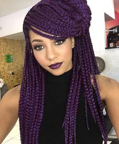 NICE PURPLE LIPSTICK & BRAIDS. MOST WOMEN HAVE FOUND OUT THAT FAUX BRAIDS ARE PRETTY  BUT DAMAGING TO YOUR HAIR. BIG CHOP MAY BE NECESSARY & INTENSE TREATMENTS MAY BE REQUIRED.