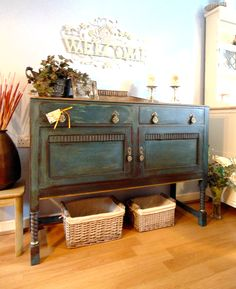 Striking Antique Sideboard Painted in Annie Sloan Aubusson Blue with a hint of Versailles Shade. Clear & Dark Waxed. Gold Leaf Applied. Shabby Chic! #darkshabbychicfurniture