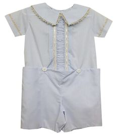 LaJenns Boy's Heirloom Button On in Blue with Lace Peter Pan Collar and Vertical Ruching
