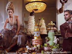 engagement photos theme!!! cake, animals and big Marie Antoinette hair!
