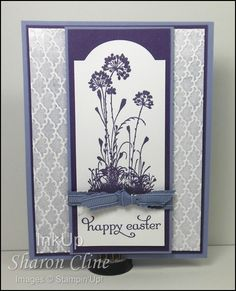 handmade Easter card by Sharon Cline ... purples ... Serene Silhouettes ... inked embossing folder techniques ... like the layout ... Stampin' Up!