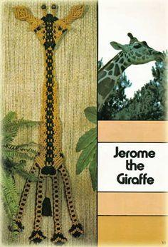 Jerome the Giraffe, macrame hanging