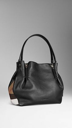 Black Medium Check Detail Leather Tote Bag - $1,150 Item 39636381