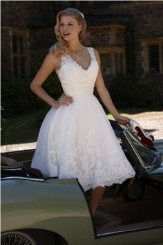 Wedding Dreses Lace Short Puffy Wedding Dresses Vintage V Neck A Line Knee Length Backless Ruched Sleeveless Cute White Custom Made Wedding Gowns 2015 Wedding Dresses By Vera Wang From Jewel_love, $94.25| Dhgate.Com
