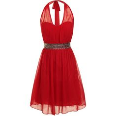 Little Mistress Sequin waist fit and flare dress ($37) ❤ liked on Polyvore featuring dresses, vestidos, red, short dresses, robe, red cocktail dress, mini dress, red dress and red sleeveless dress