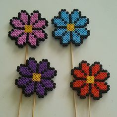 Flower sticks hama beads by anna_maria_angelica Perler Bead Designs, Easy Perler Bead Patterns, Melty Bead Patterns, Hama Beads Design, Diy Perler Beads, Perler Bead Art, Beading Patterns, Peler Beads, Fusion Beads