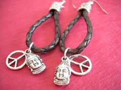 Earrings, Braided Leather Earrings, Antique Brown Braided, Buddha, Peace Sign - Urban Survival Gear USA