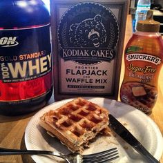 Protein breafast waffles 1/3 cup kodiak cake mix + 1.5 scoops of protein powder + 1/2 cup water