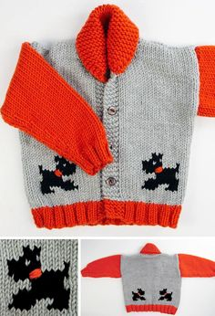 Free Knitting Pattern for Child's Chunky Dog Jacket - Long-sleeved cardigan with. Free Knitting Pattern for Child's Chunky Dog Jacket - Long-sleeved cardigan with shawl collar and puppies on the front a. Baby Boy Knitting Patterns, Baby Sweater Knitting Pattern, Crochet Baby Cardigan, Knitting Machine Patterns, Knitting For Kids, Baby Patterns, Knitting Projects, Free Knitting, Crochet Jacket