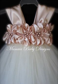 Diy Crafts - Customize Your Own Flower Girl Dress by ManaiaBabyDesigns on Etsy Blush Flower Girl Dresses, Girls Tutu Dresses, Flower Girl Tutu, Blush Flowers, Blush Dresses, Tutus For Girls, Satin Flowers, Little Girl Dresses, Dahlia Flowers
