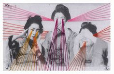 Paper Embroidery For Tokyo-based textile artist Mana Morimoto, aka MNMRMT, thread is therapy. Her first attempt at embroidery on paper was on one of her. Art And Illustration, Art Fil, Evil Art, Laser Art, Photo D Art, Thread Art, Paper Embroidery, Textile Artists, Art Design