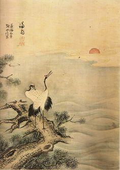 (Korea) 일출송학도 by Gyeomjae Jeong Seon. ca 18th century CE. color on paper.