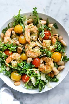 This Mediterranean-inspired arugula and pesto shrimp salad is not only super simple to prepare ahead of time for lunch, but because you can meal prep it straight from your pantry and freezer, it's incredibly easy to make on the fly, too.