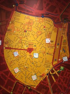 Map in reception of a hotel in Montpellier where visitors could add their own highlights and recommendations