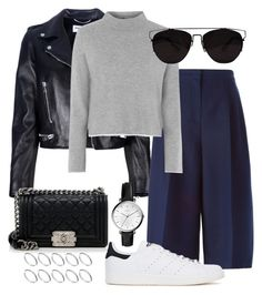 """#432"" by blendingtwostyles ❤ liked on Polyvore featuring Yves Saint Laurent, Valentino, Topshop, FOSSIL, adidas Originals, Chanel and ASOS"