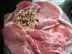 Five Fall Meals from Five Pork Chops sauté chops in oil then drain grease add 1 pot mushroom gravy with 3 cups water for 4 chops and 1 pkg pork gravy and 1 tsp caraway seeds. Simmer till tender approx 1 hr. Then in 1 cup milk add 2 heaping tsp of cornstarch.