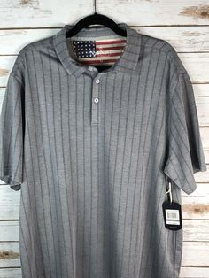 550c87db8ddd Nat Nast Gray Short Sleeve Polo Shirt Striped US Flag Size XL Men s  48 NWT