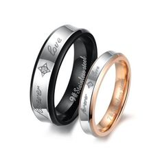 "Fashion Black Plated His & Hers Gold-plated Titanium Steel Couples ""Forever Love"" Ring Mens Ladies Wedding Band Tungsten Love. $11.99. Width: 6mm for male or 4mm for female. List price is for one ring only. Purchase two rings for a matching set.. Weight: 6g for male or 3.5g for female"