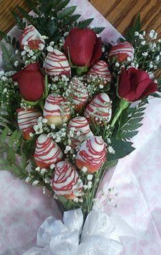 Chocolate covered Strawberry and Rose Bouquets!  Great for V-Day and just when you want to say I love everything about you.  www.owhatacake.com