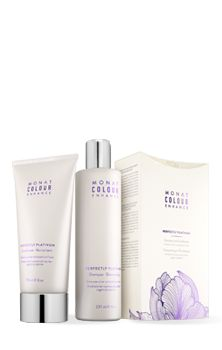 Perfectly Platinum Shampoo + Conditioner Duo | Monat Revitalize your hair color brilliance and say goodbye to brassy tones. Enhances silver and platinum hues. Specially formulated with a complex blend of botanical actives and natural phyto-pigments derived from Lavender, Centaurea, Mallow and Violet Flowers to boost lustrous platinum and silver highlights and beautifully enhance silver and platinum hues.