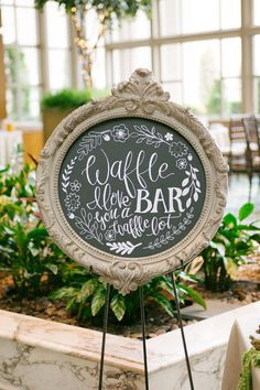 Wedding Reception pretty wedding chalkboard sign for a waffle bar - This bride had her heart set on a morning brunch garden wedding complete with a coffee bar and a bacon bar. Yes we said a bacon bar! Wedding Brunch Reception, Fall Wedding, Our Wedding, Wedding Engagement, Trendy Wedding, Engagement Rings, Autumn Weddings, Garden Weddings, Wedding Country