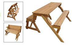 This convertible picnic table to bench converts from a standard bench that seats 2 (possibly 3) to a fully functional picnic table that seats 4.