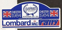 1984 LOMBARD RAC RALLY CHESTER ORIGINAL PERIOD STICKER AUTOCOLLANT PEUGEOT 205