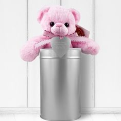 Personalised Baby Girl Teddy and Heart in a Tin
