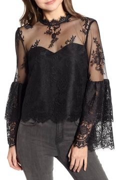 cupcakes and cashmere Lace Layered Bell Sleeve Blouse New Blouse Designs, Black Lace Tops, Black Lace Blouse, Linen Blouse, Bell Sleeve Blouse, Bell Sleeves, Chic Outfits, African Fashion, Blouses For Women
