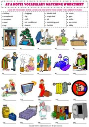 at a hotel vocabulary matching exercise worksheet icon
