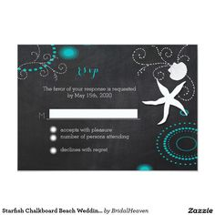 Starfish Chalkboard Beach Wedding RSVP