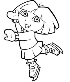Dora The Explorer Playing Ice Skating Coloring Pages