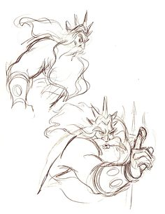 King Triton character sketches by Andreas Deja