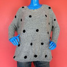 Urban Day Oversized Polka Dot Boucle Sweater M L 10 12 14 16 18 Batwing Sleeves #UrbanDay #Pullover #Casual
