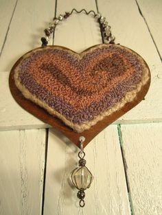 Primitive Purple Heart Needlepunch Ornament by Gollywobbles, $15.00