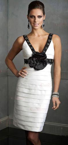 cordón elegante blanco y negro diseños cortos realizados cliente-noche vestido de fiesta 2011 - €76.63