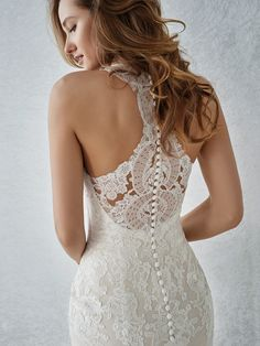 Wedding Dress Lace Pronovias Familia - Description: Romantic fit and flare lace bridal gown with a v-neckline and a illusion racerback. Book your appointment to try this gown on! Wedding Dress Backs, Western Wedding Dresses, Perfect Wedding Dress, Wedding Dress Styles, Dream Wedding Dresses, Bridal Dresses, Wedding Gowns, Halter Wedding Dresses, Fitted Lace Wedding Dress