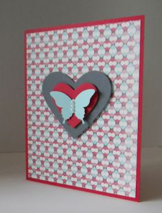 All supplies Stampin' Up! More Amore Designer Series Paper, Elegant Butterfly Punch, Hearts Collection Framelits (CASE'd with permission from Maren Kuppe on Stampin' Connection with slight modifications.)