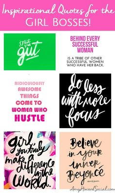 Are you a girl boss in need of some inspiration? Take a look at this round-up of Inspirational Quotes for the Girl Bosses! Girl Boss Quotes - #girlboss