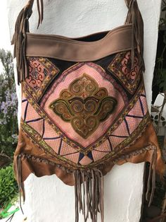 EAST ASIA vintage embroidery bag hand  made with antique fabrics and soft brown leather