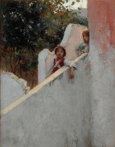 "John Singer Sargent ""Ricordi di Capri"" Art Print by Alexandra_Arts - X-Small John Singer Sargent Watercolors, Sargent Art, Capri, Michelangelo, Paintings I Love, Oil Paintings, Pierre Auguste Renoir, Figure Painting, Oeuvre D'art"