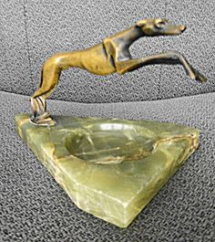 Bronze Art Deco Greyhound on Green Onyx Base  (have this dog, but not on onxy base)