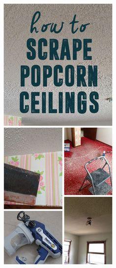 Tips and Tricks for Scraping Popcorn Ceilings, How to Scrape Popcorn Ceilings www.BrightGreenDoor.com