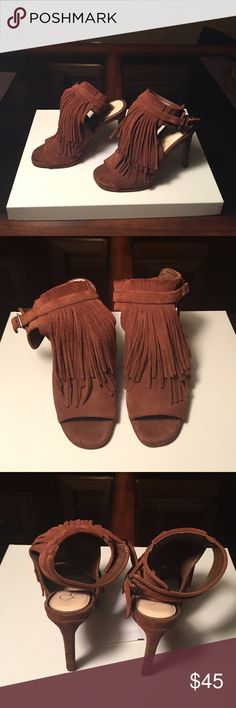 Jessica Simpson Suede Fringed Slingback Booties Cognac Color Suede Ankle Boot high heeled Platform Sandals. Open toe and Open back with sexy fringe detail. Just high enough to be sexy but still comfortable to walk in!  Worn once. Jessica Simpson Shoes Ankle Boots & Booties