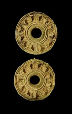 Pair of Gold Ear-Plugs. The Front Decorated With Raised Chevrons Fringed By Pecked Designs, Origin: Circa 2nd to 1st Century B.C., Central Asia.