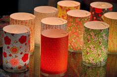 Papier japonais et photophores Papier Diy, Japanese House, Lights Background, Artisanal, Chinoiserie, Decoration, Pillar Candles, Lanterns, Candle Holders